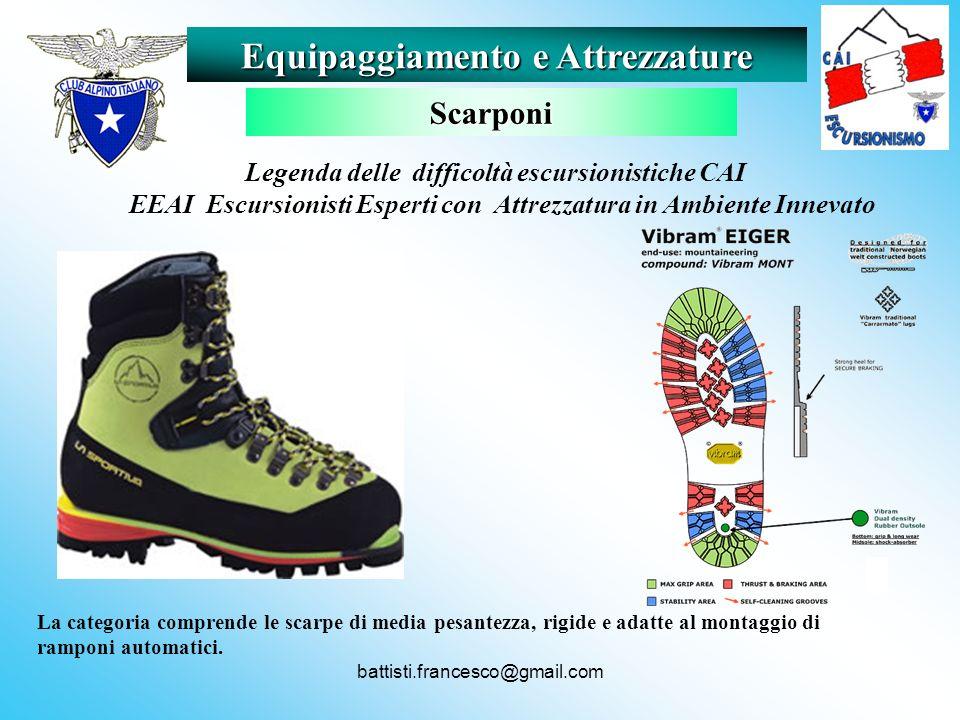 battisti.francesco@gmail.com La categoria comprende le scarpe di media pesantezza, rigide e adatte al montaggio di ramponi automatici. Equipaggiamento