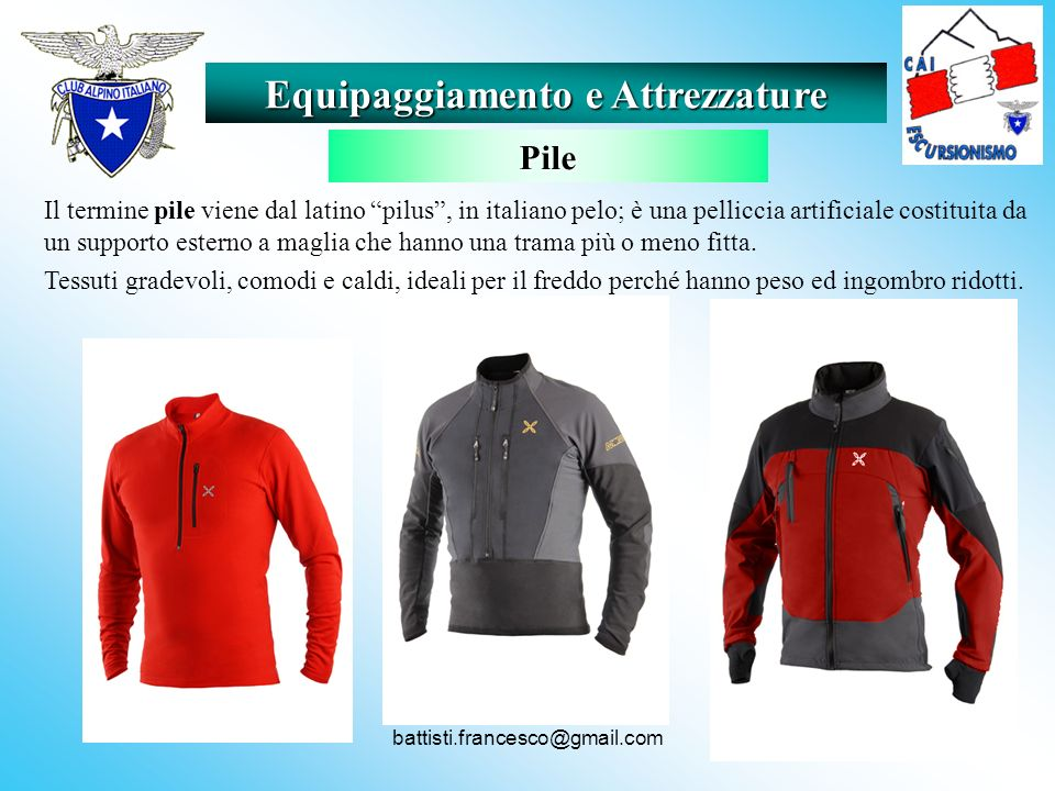 battisti.francesco@gmail.com Il termine pile viene dal latino pilus, in italiano pelo; è una pelliccia artificiale costituita da un supporto esterno a