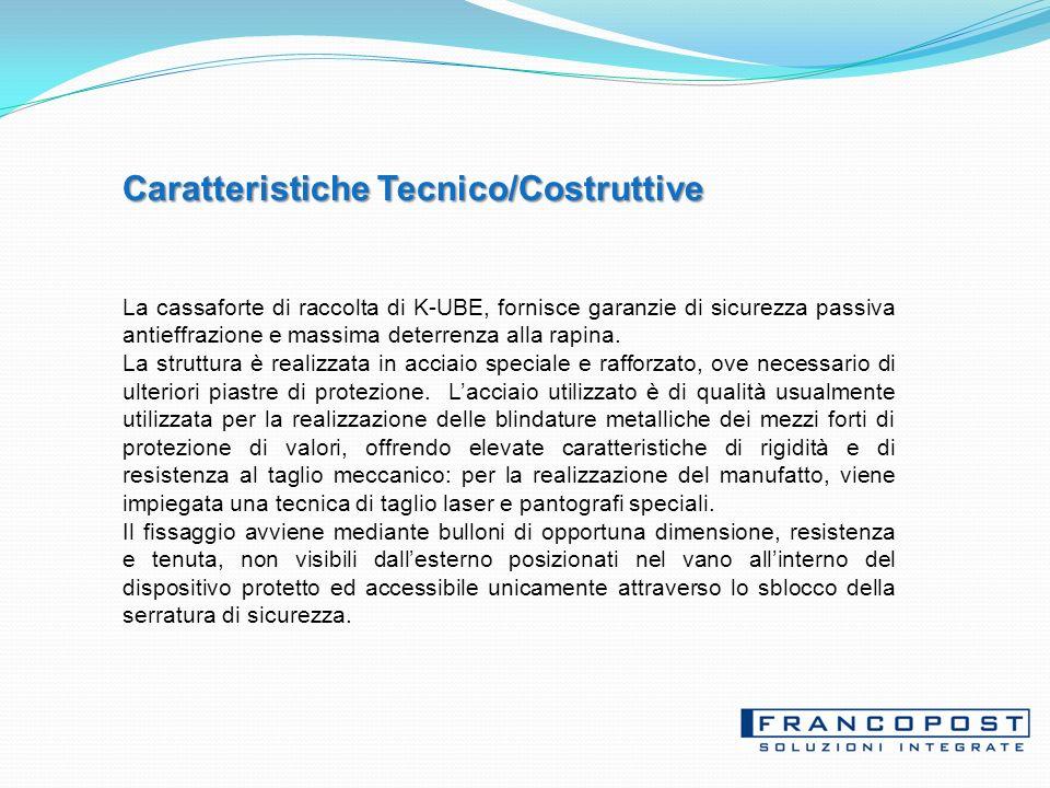 Caratteristiche Tecnico/Costruttive La cassaforte di raccolta di K-UBE, fornisce garanzie di sicurezza passiva antieffrazione e massima deterrenza alla rapina.