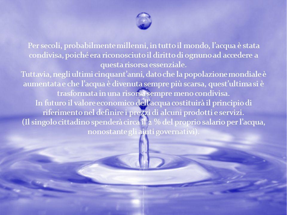 Anche se la superficie terrestre è coperta per il 71% di acqua, questa è costituita per il 97,5% da acqua salata.