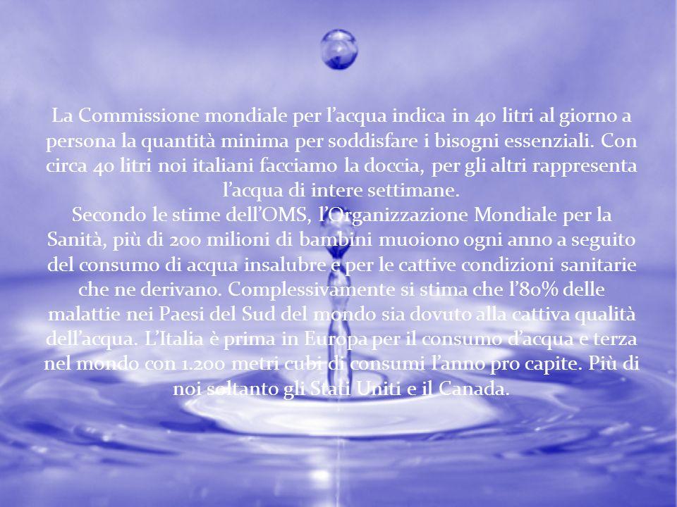 La Commissione mondiale per lacqua indica in 40 litri al giorno a persona la quantità minima per soddisfare i bisogni essenziali. Con circa 40 litri n