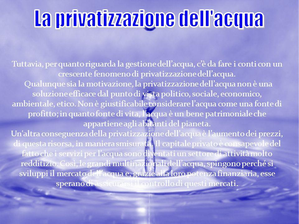 Tuttavia, per quanto riguarda la gestione dellacqua, cè da fare i conti con un crescente fenomeno di privatizzazione dellacqua. Qualunque sia la motiv