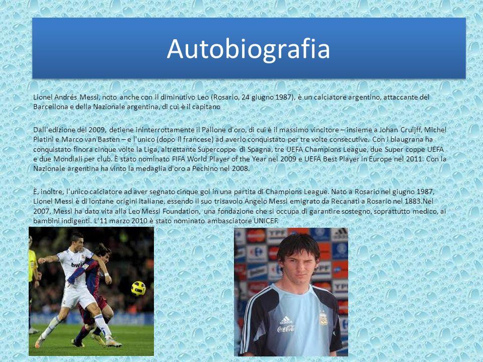 Autobiografia Lionel Andrés Messi, noto anche con il diminutivo Leo (Rosario, 24 giugno 1987), è un calciatore argentino, attaccante del Barcellona e