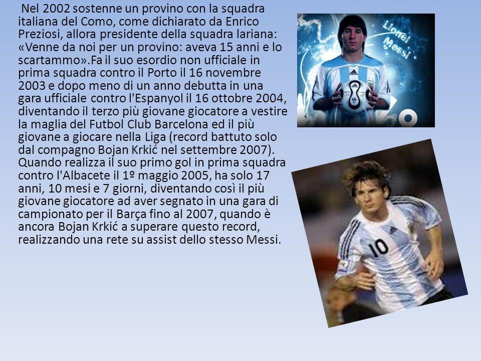 Nel 2002 sostenne un provino con la squadra italiana del Como, come dichiarato da Enrico Preziosi, allora presidente della squadra lariana: «Venne da