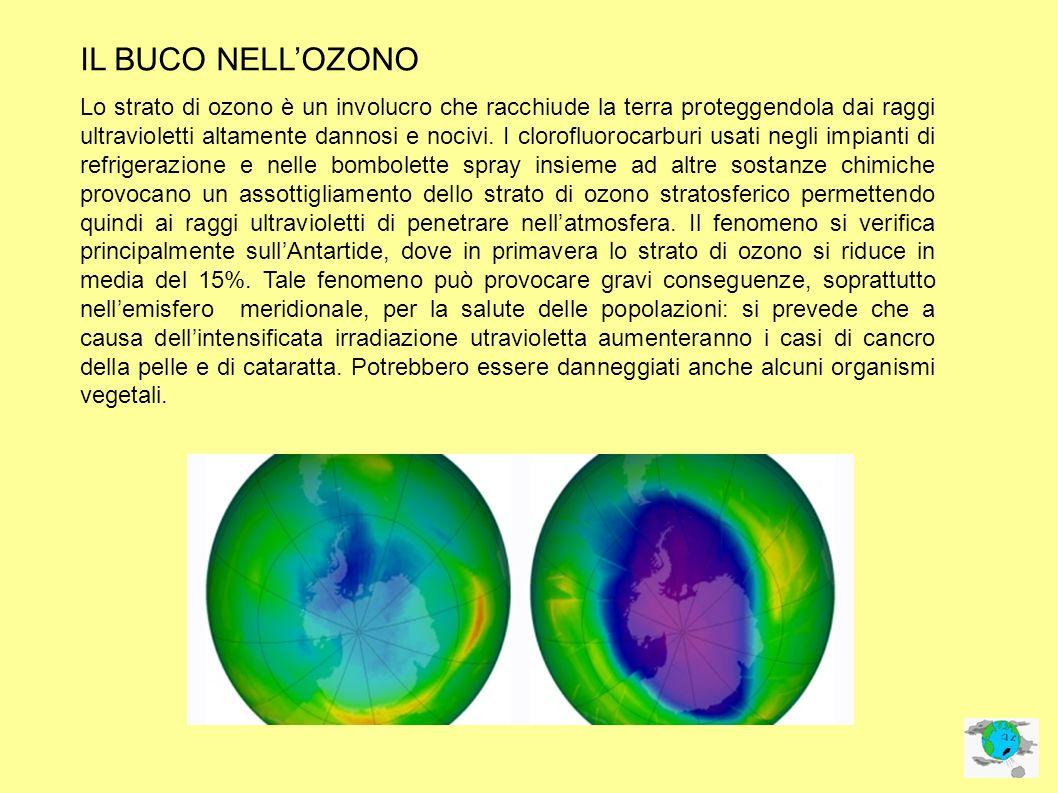 IL BUCO NELLOZONO Lo strato di ozono è un involucro che racchiude la terra proteggendola dai raggi ultravioletti altamente dannosi e nocivi. I clorofl