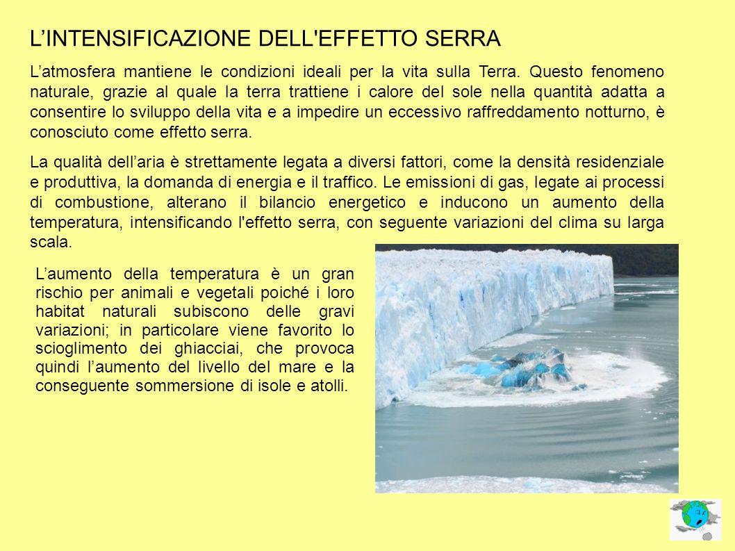 LINTENSIFICAZIONE DELL EFFETTO SERRA Latmosfera mantiene le condizioni ideali per la vita sulla Terra.