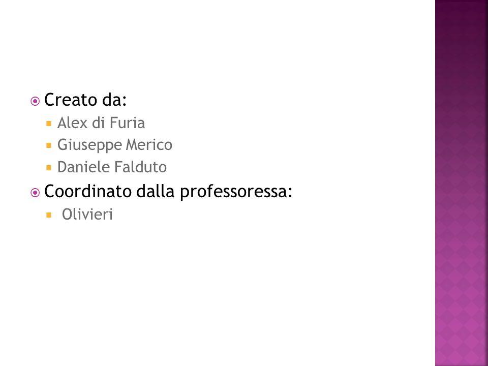 Creato da: Alex di Furia Giuseppe Merico Daniele Falduto Coordinato dalla professoressa: Olivieri