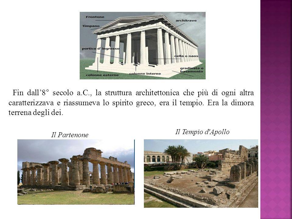 Fin dall8° secolo a.C., la struttura architettonica che più di ogni altra caratterizzava e riassumeva lo spirito greco, era il tempio. Era la dimora t