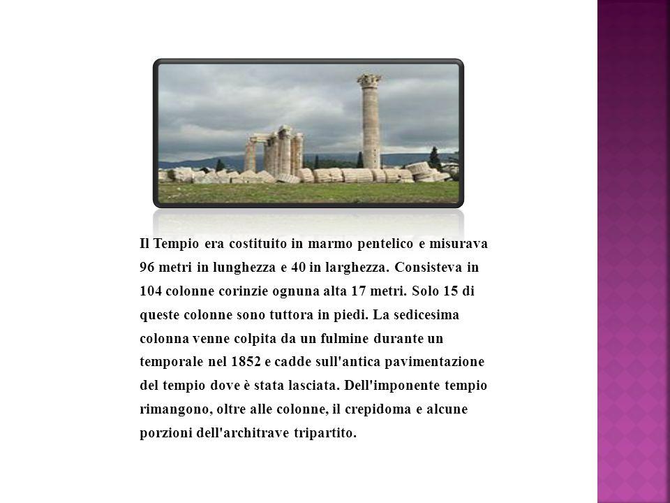 Il Tempio era costituito in marmo pentelico e misurava 96 metri in lunghezza e 40 in larghezza. Consisteva in 104 colonne corinzie ognuna alta 17 metr