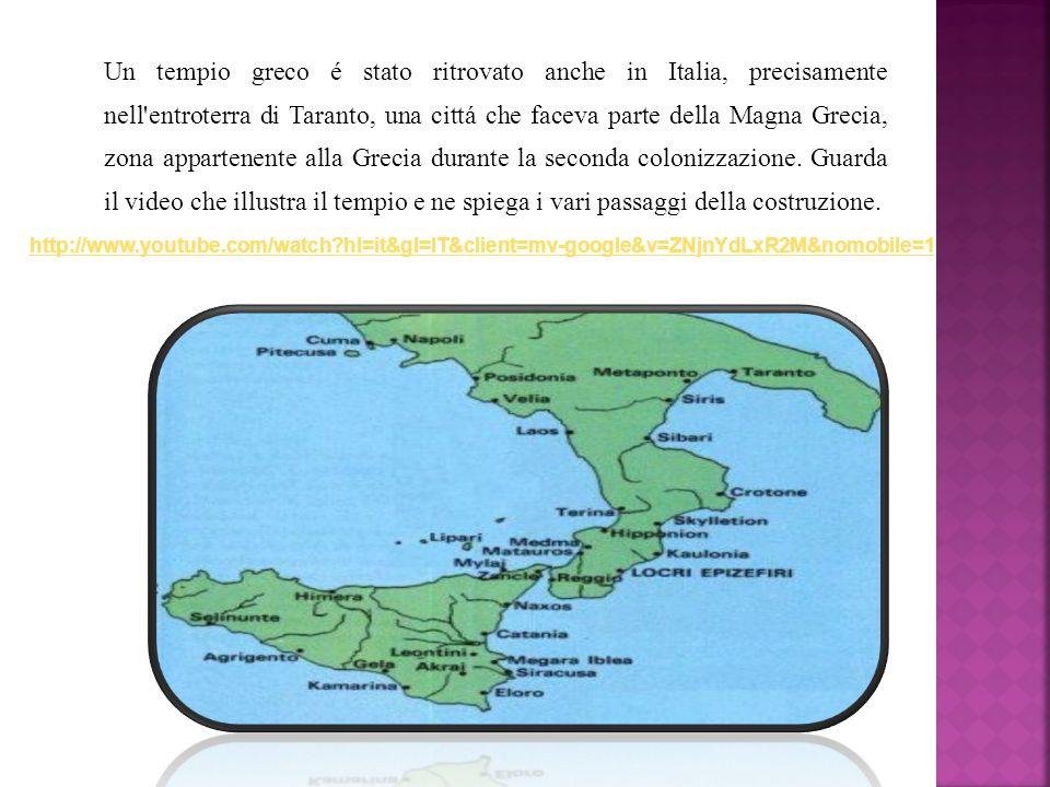 Un tempio greco é stato ritrovato anche in Italia, precisamente nell'entroterra di Taranto, una cittá che faceva parte della Magna Grecia, zona appart