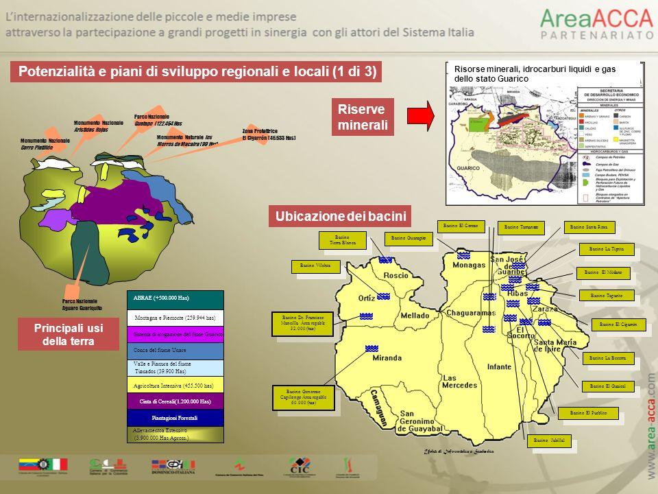 Allevamentoa Estensivo (3.900.000 Has Apross.) Cinta di Cereali(1.200.000 Has) ABRAE (+500.000 Has) Sistema di irrigazione del fiune Guárico Valle e P
