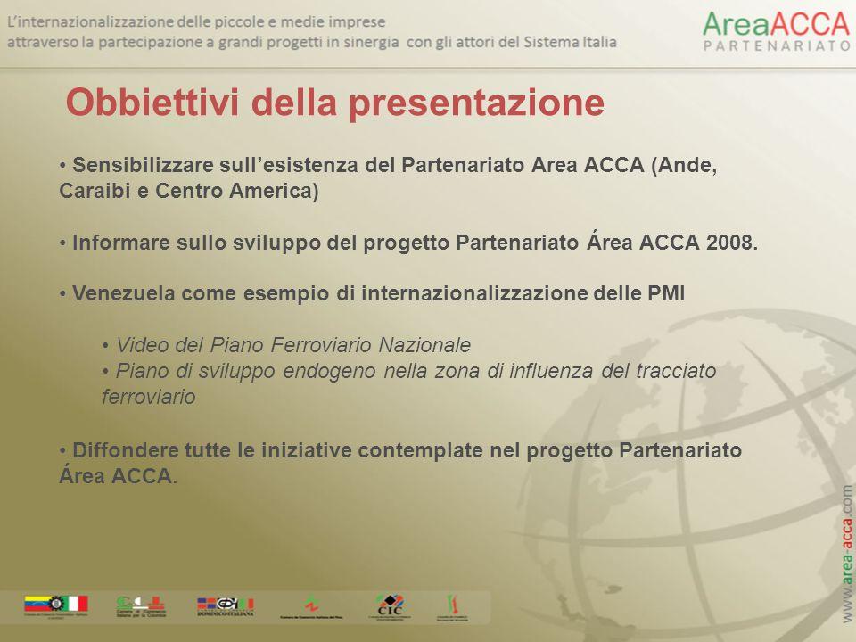 Sensibilizzare sullesistenza del Partenariato Area ACCA (Ande, Caraibi e Centro America) Informare sullo sviluppo del progetto Partenariato Área ACCA