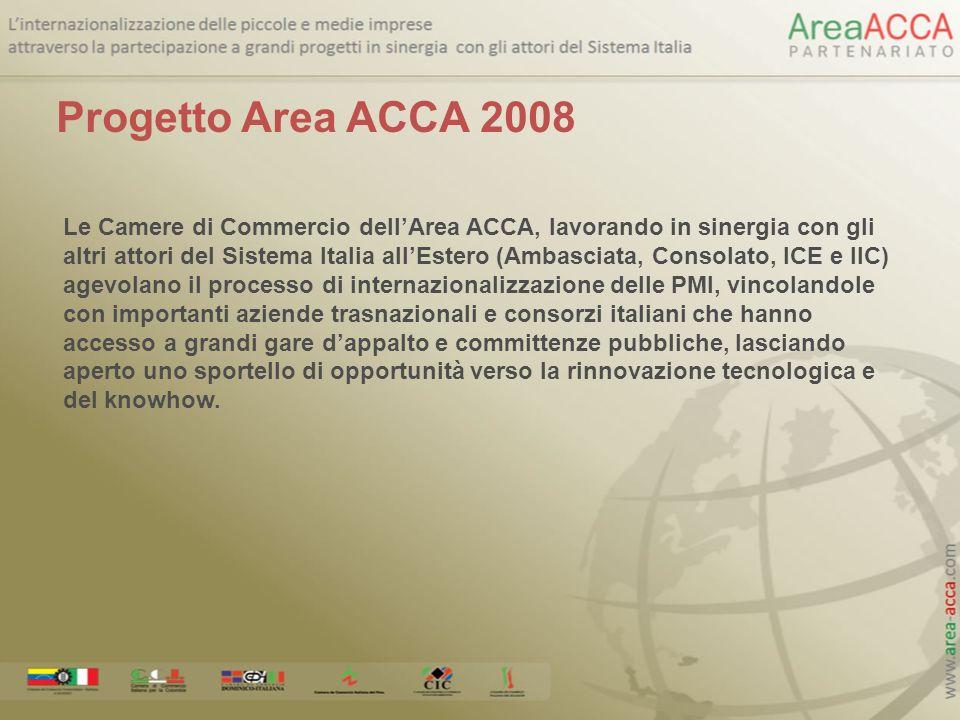 Le Camere di Commercio dellArea ACCA, lavorando in sinergia con gli altri attori del Sistema Italia allEstero (Ambasciata, Consolato, ICE e IIC) agevo