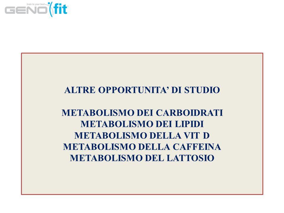 ALTRE OPPORTUNITA DI STUDIO METABOLISMO DEI CARBOIDRATI METABOLISMO DEI LIPIDI METABOLISMO DELLA VIT D METABOLISMO DELLA CAFFEINA METABOLISMO DEL LATTOSIO