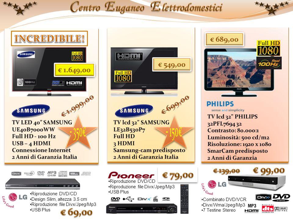 Riproduzione DVD/CD Design Slim, altezza 3.5 cm Riproduzione file Divx/Jpeg/Mp3 USB Plus Riproduzione DVD/CD Riproduzione file Divx/Jpeg/Mp3 USB Plus Combinato DVD/VCR Divx/Wma/Jpeg/Mp3 7 Testine Stereo