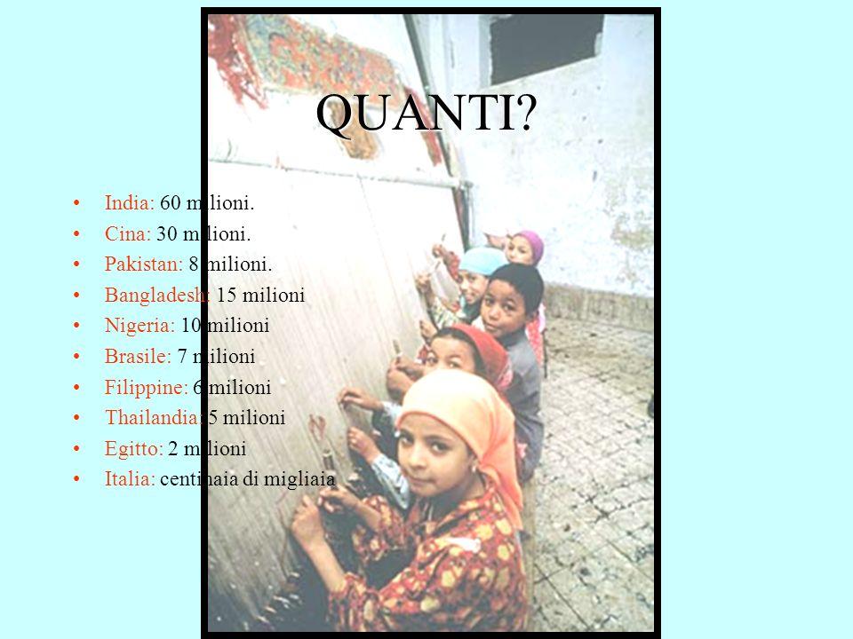 QUANTI? India: 60 milioni. Cina: 30 milioni. Pakistan: 8 milioni. Bangladesh: 15 milioni Nigeria: 10 milioni Brasile: 7 milioni Filippine: 6 milioni T