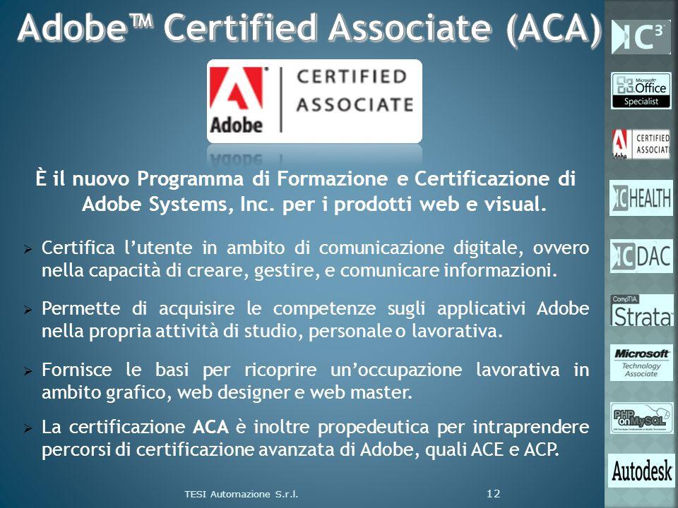 È il nuovo Programma di Formazione e Certificazione di Adobe Systems, Inc. per i prodotti web e visual. Certifica lutente in ambito di comunicazione d