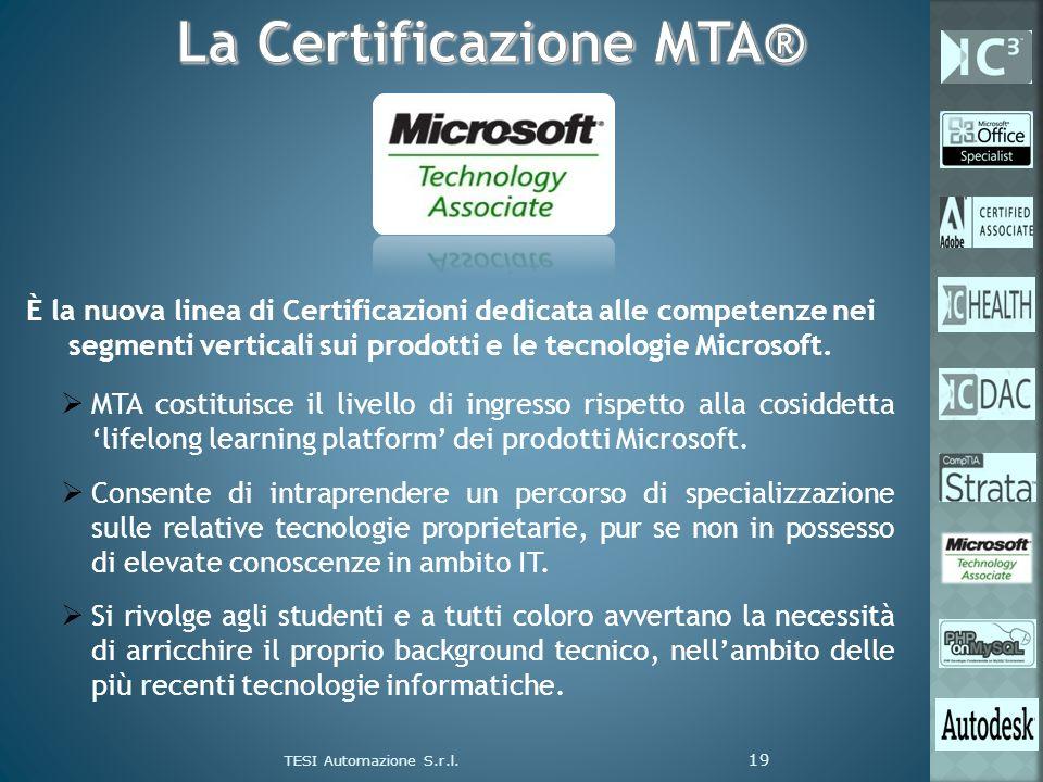 TESI Automazione S.r.l. 19 È la nuova linea di Certificazioni dedicata alle competenze nei segmenti verticali sui prodotti e le tecnologie Microsoft.