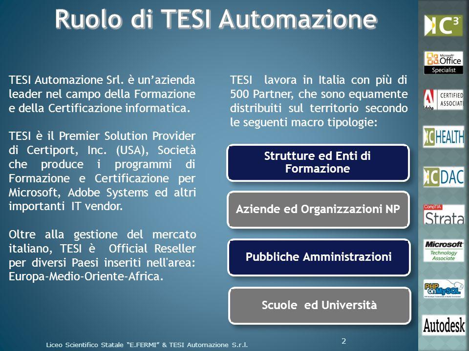 TESI Automazione Srl. è unazienda leader nel campo della Formazione e della Certificazione informatica. TESI è il Premier Solution Provider di Certipo