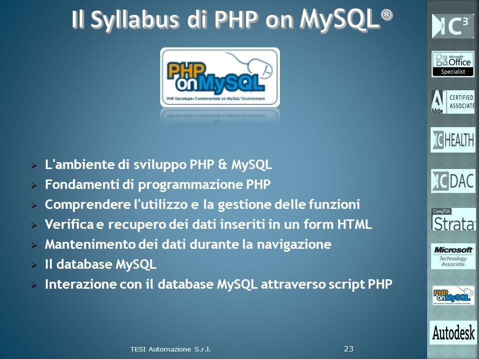 L'ambiente di sviluppo PHP & MySQL Fondamenti di programmazione PHP Comprendere l'utilizzo e la gestione delle funzioni Verifica e recupero dei dati i