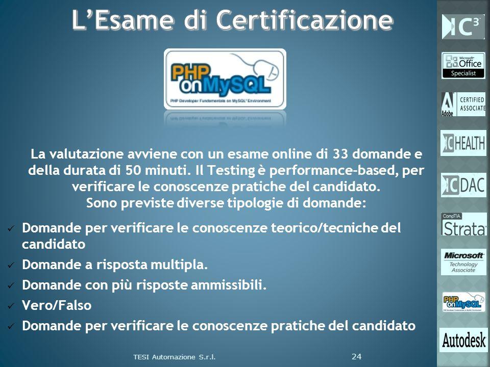 La valutazione avviene con un esame online di 33 domande e della durata di 50 minuti. Il Testing è performance-based, per verificare le conoscenze pra