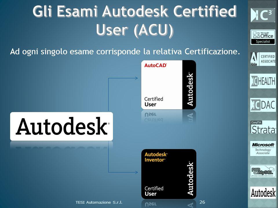 Ad ogni singolo esame corrisponde la relativa Certificazione. TESI Automazione S.r.l. 26