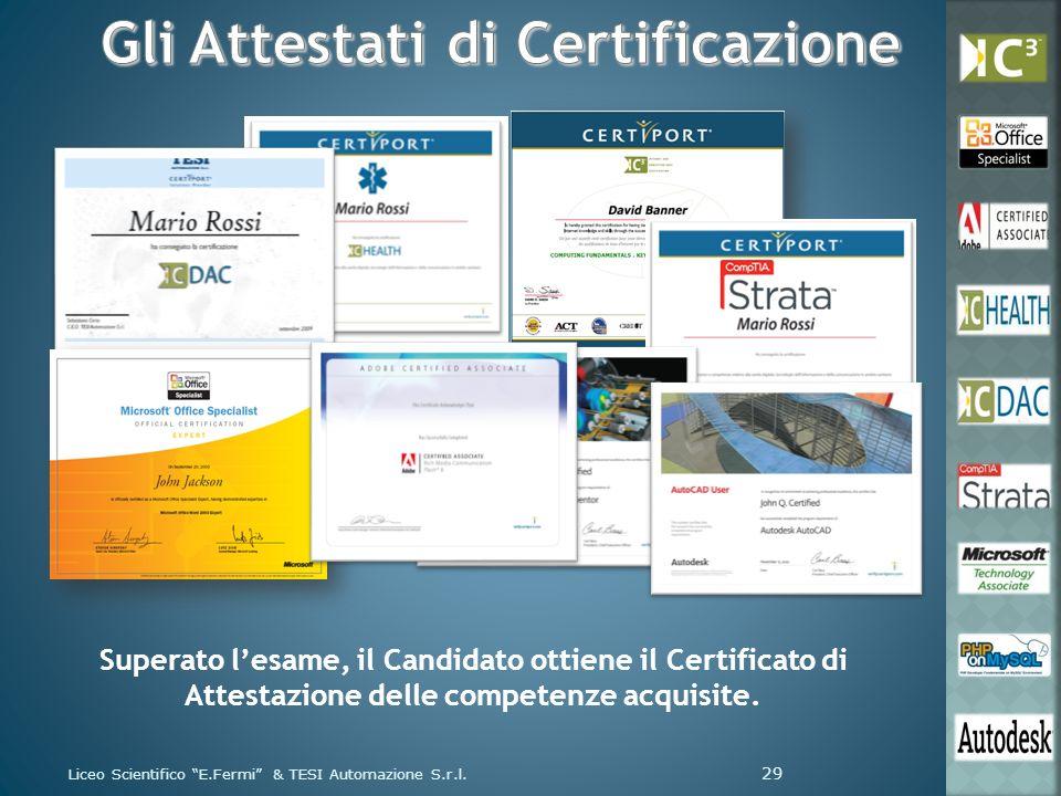 Liceo Scientifico E.Fermi & TESI Automazione S.r.l. 29 Superato lesame, il Candidato ottiene il Certificato di Attestazione delle competenze acquisite