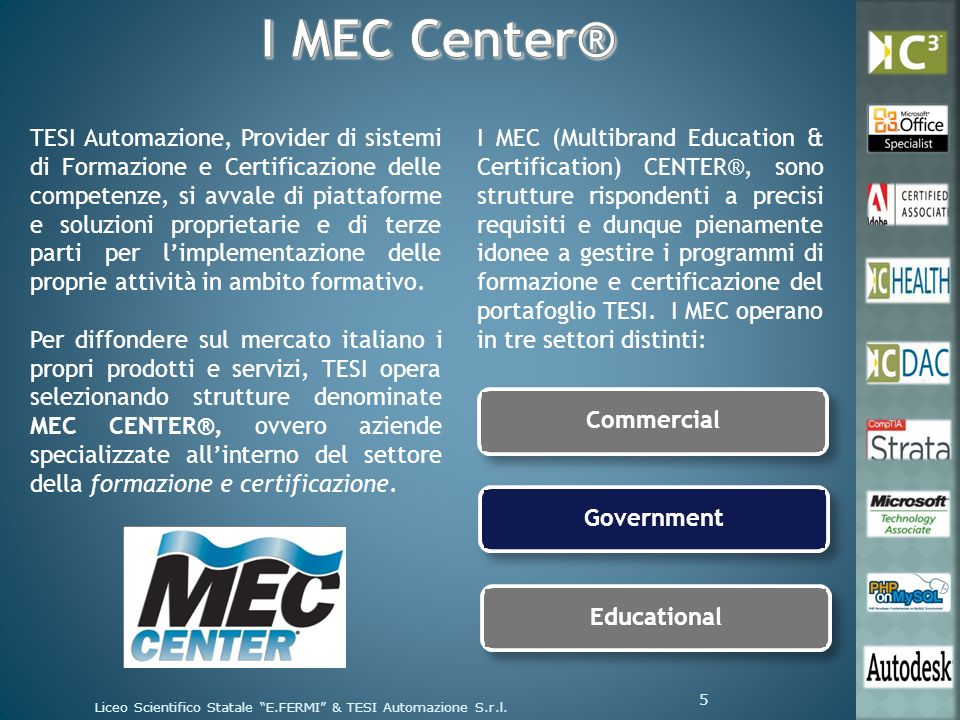 Materiale cartaceo, multimediale ed online Materiale cartaceo, multimediale ed online TESI garantisce al MEC Center ® una serie di risorse cartacee, elettroniche ed online, per ogni linea di prodotto.