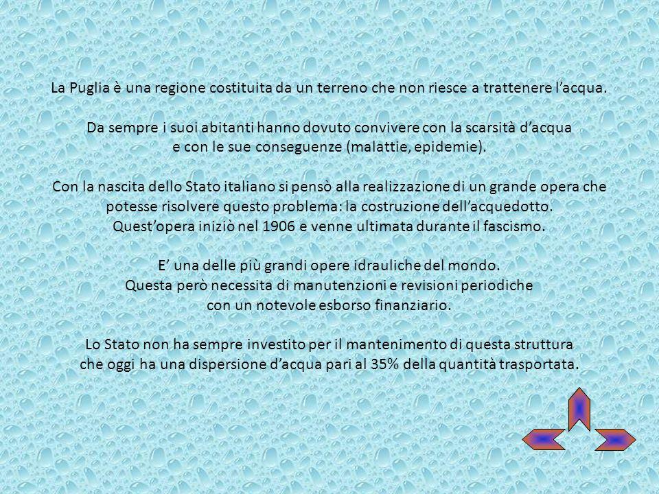 La Puglia è una regione costituita da un terreno che non riesce a trattenere lacqua. Da sempre i suoi abitanti hanno dovuto convivere con la scarsità