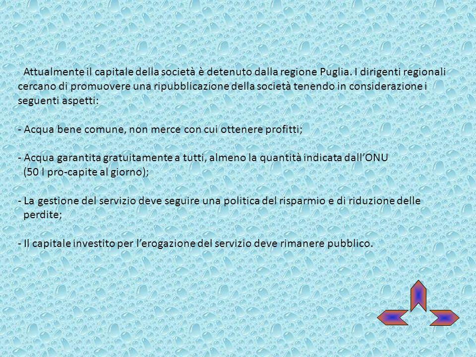 Attualmente il capitale della società è detenuto dalla regione Puglia. I dirigenti regionali cercano di promuovere una ripubblicazione della società t