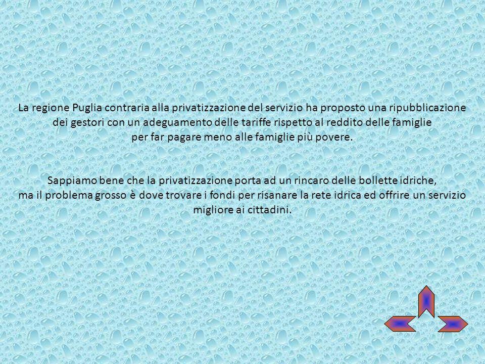 La regione Puglia contraria alla privatizzazione del servizio ha proposto una ripubblicazione dei gestori con un adeguamento delle tariffe rispetto al