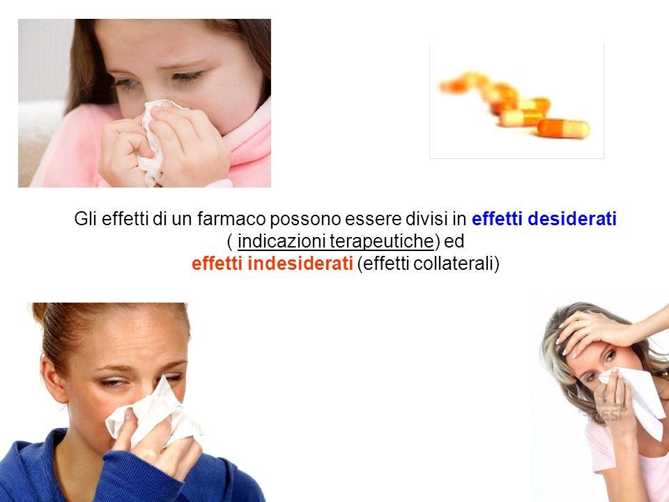 Gli effetti di un farmaco possono essere divisi in effetti desiderati ( indicazioni terapeutiche) ed effetti indesiderati (effetti collaterali)