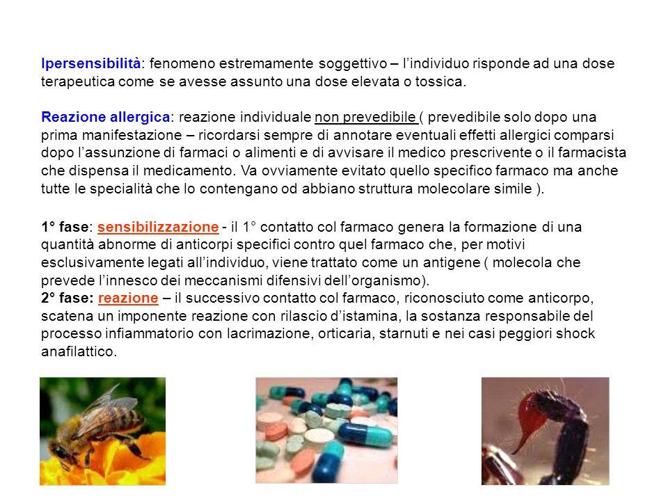Ipersensibilità: fenomeno estremamente soggettivo – lindividuo risponde ad una dose terapeutica come se avesse assunto una dose elevata o tossica. Rea