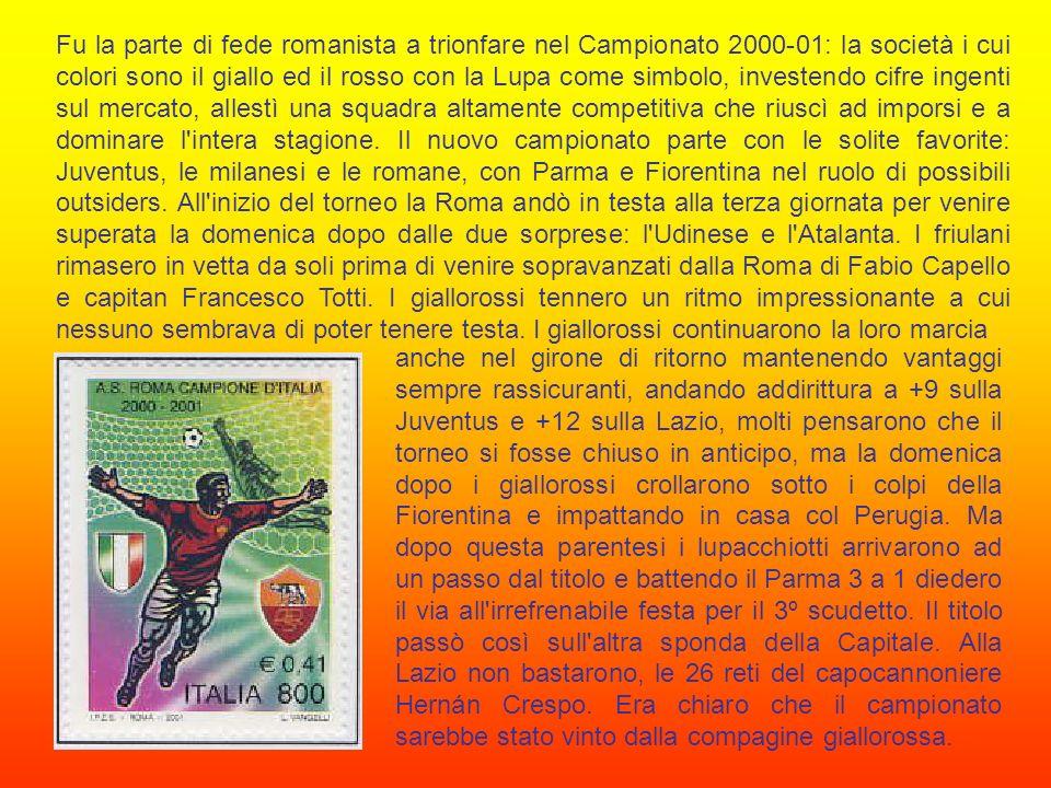 Il novantottesimo campionato di calcio italiano, il sessantottesimo giocato a girone unico si svolge nel 1999-2000, nell anno del Giubileo, e lo scudetto tornò nella Capitale: a conquistarlo fu la Lazio.