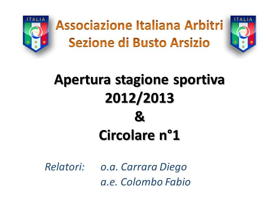 Apertura stagione sportiva 2012/2013 & Circolare n°1 Relatori:o.a. Carrara Diego a.e. Colombo Fabio