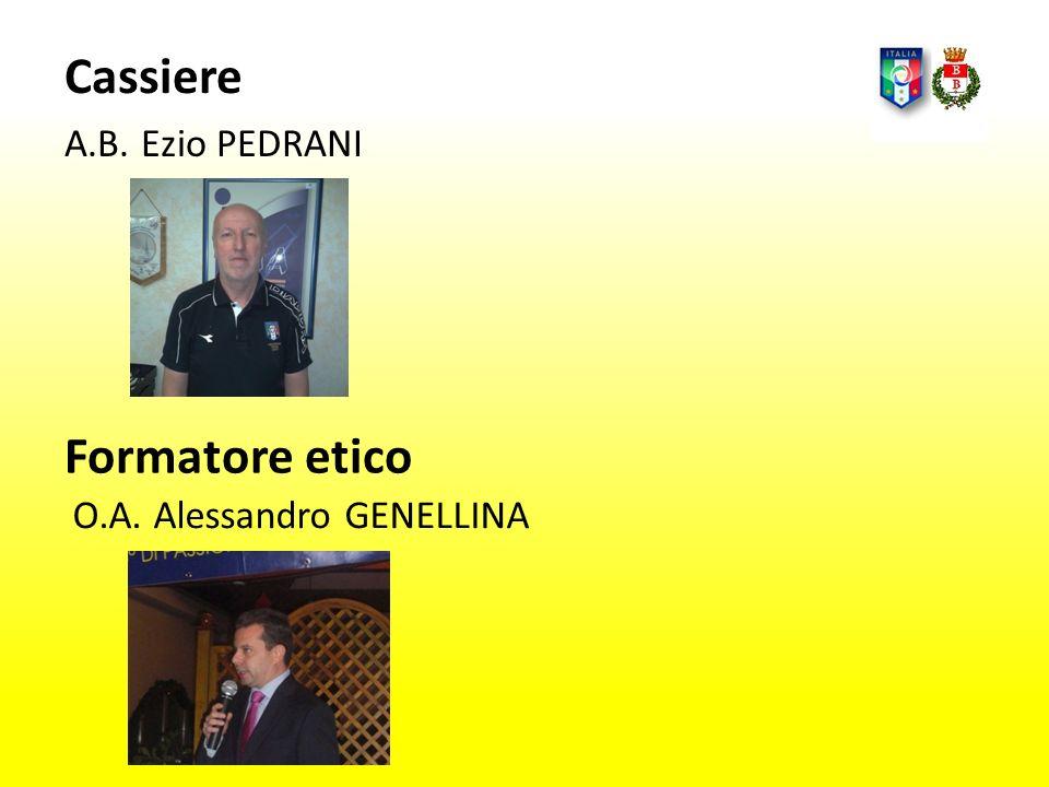 Cassiere A.B. Ezio PEDRANI O.A. Alessandro GENELLINA Formatore etico