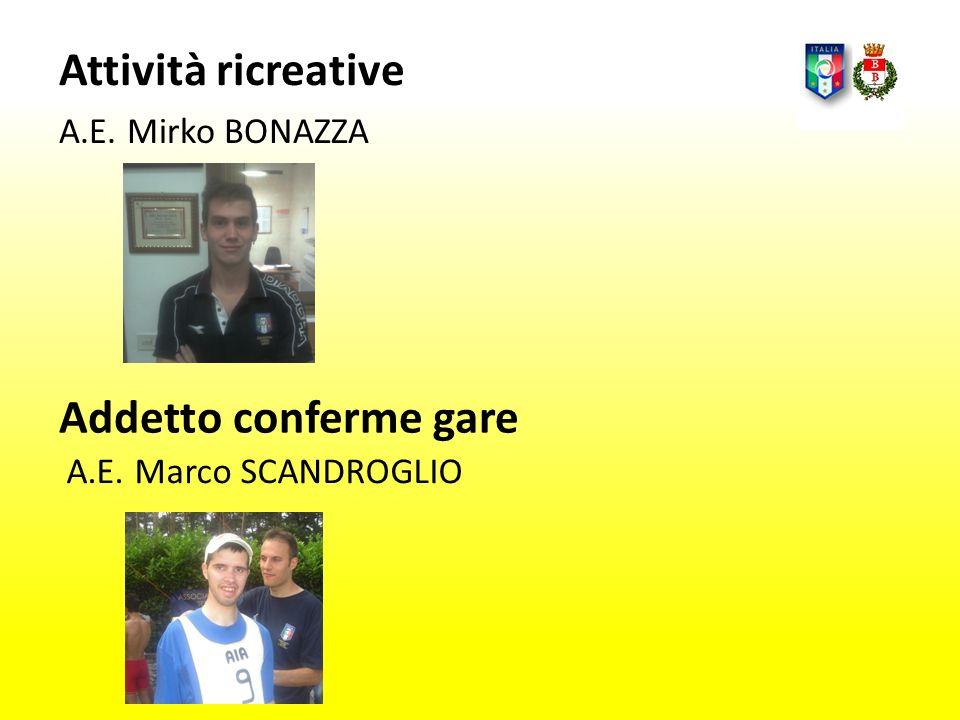 Attività ricreative A.E. Mirko BONAZZA A.E. Marco SCANDROGLIO Addetto conferme gare
