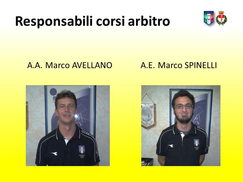 Responsabili corsi arbitro A.A. Marco AVELLANOA.E. Marco SPINELLI