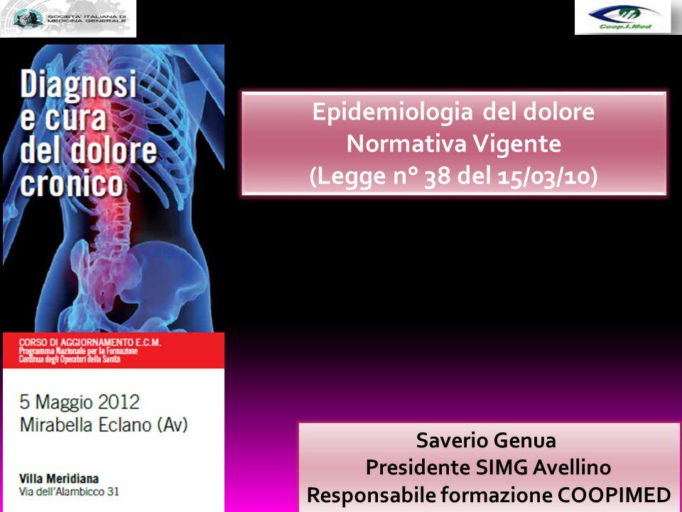 Saverio Genua Presidente SIMG Avellino Responsabile formazione COOPIMED Epidemiologia del dolore Normativa Vigente (Legge n° 38 del 15/03/10)