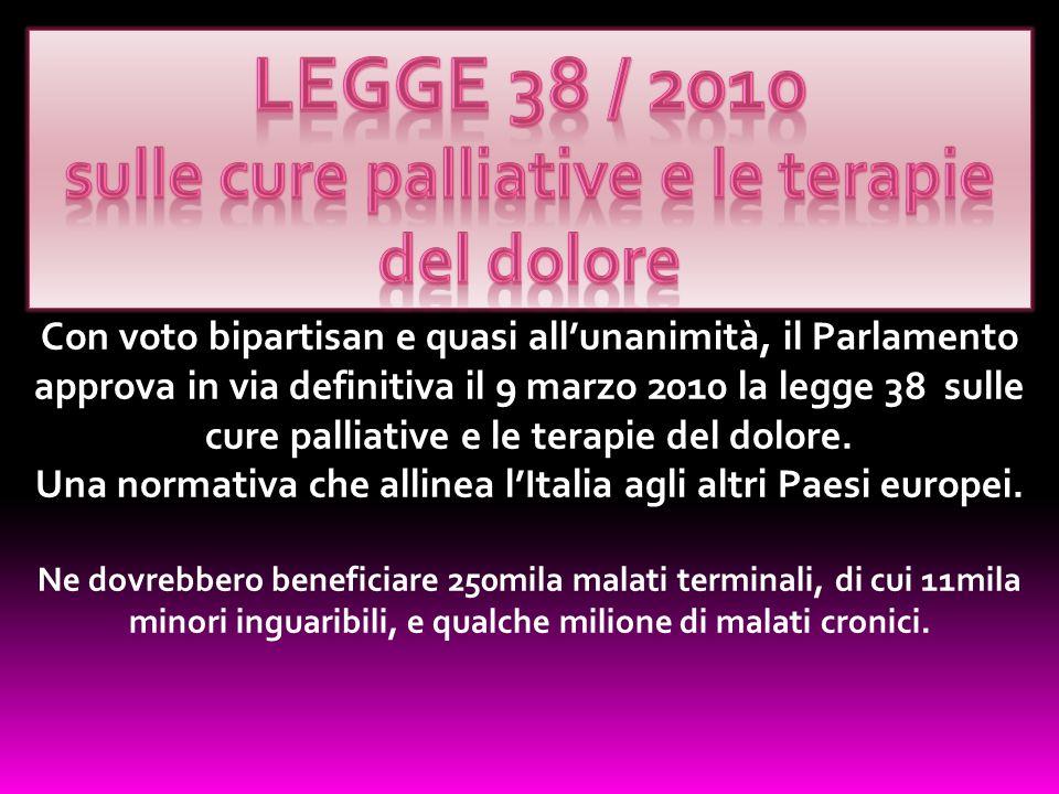 Con voto bipartisan e quasi allunanimità, il Parlamento approva in via definitiva il 9 marzo 2010 la legge 38 sulle cure palliative e le terapie del d