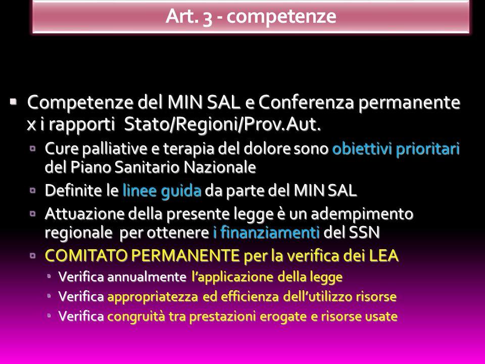 Competenze del MIN SAL e Conferenza permanente x i rapporti Stato/Regioni/Prov.Aut. Competenze del MIN SAL e Conferenza permanente x i rapporti Stato/