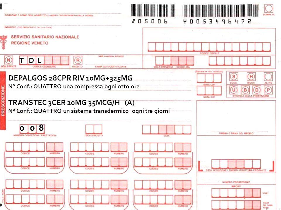 T D L DEPALGOS 28CPR RIV 10MG+325MG N° Conf.: QUATTRO una compressa ogni otto ore TRANSTEC 3CER 20MG 35MCG/H (A) N° Conf.: QUATTRO un sistema transder