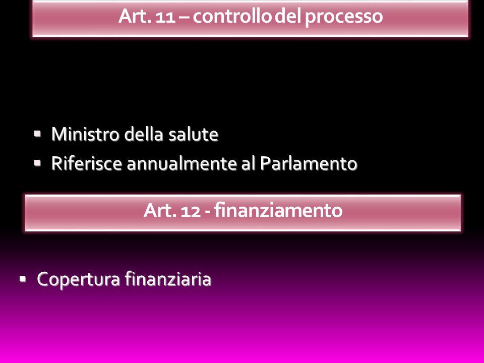 Ministro della salute Ministro della salute Riferisce annualmente al Parlamento Riferisce annualmente al Parlamento Copertura finanziaria Copertura fi