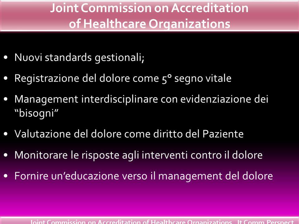 Joint Commission on Accreditation of Healthcare Organizations Nuovi standards gestionali; Registrazione del dolore come 5° segno vitale Management int