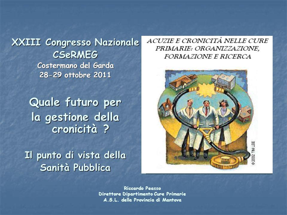 XXIII Congresso Nazionale CSeRMEG Costermano del Garda 28-29 ottobre 2011 Quale futuro per la gestione della cronicità ? Il punto di vista della Sanit