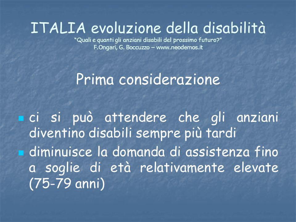 ITALIA evoluzione della disabilità Quali e quanti gli anziani disabili del prossimo futuro? F.Ongari, G. Boccuzzo – www.neodemos.it Prima considerazio
