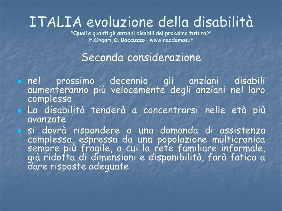 ITALIA evoluzione della disabilità Quali e quanti gli anziani disabili del prossimo futuro? F.Ongari, G. Boccuzzo – www.neodemos.it Seconda consideraz