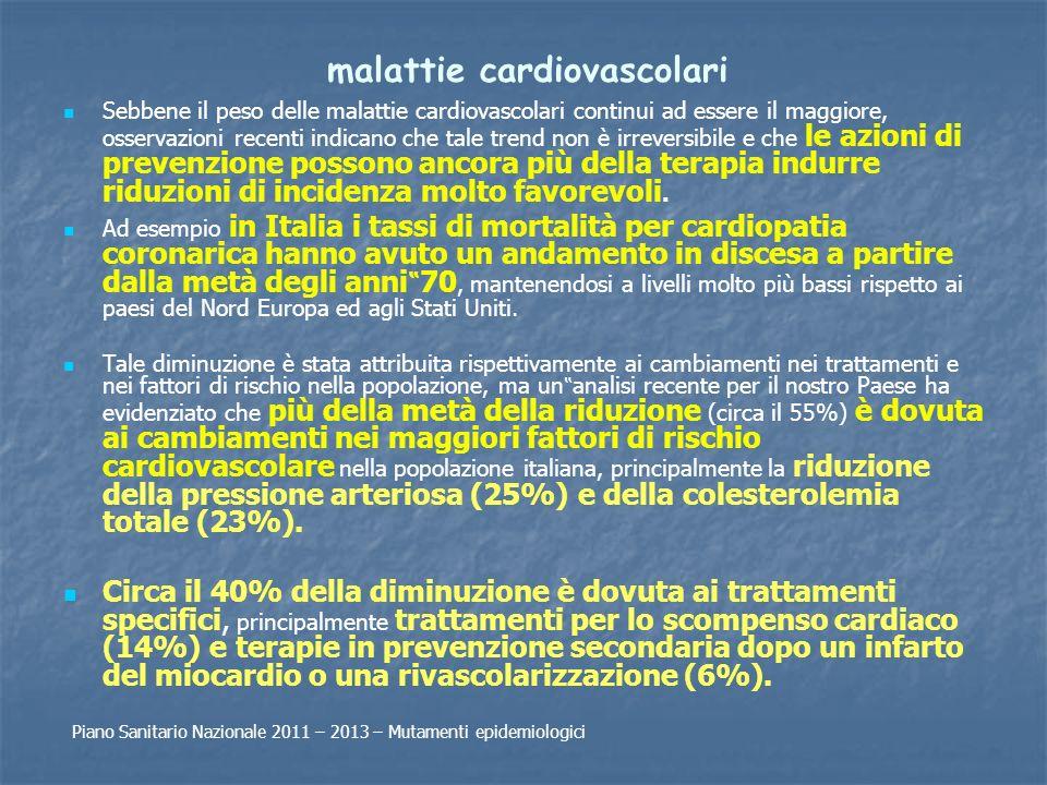 malattie cardiovascolari Sebbene il peso delle malattie cardiovascolari continui ad essere il maggiore, osservazioni recenti indicano che tale trend n