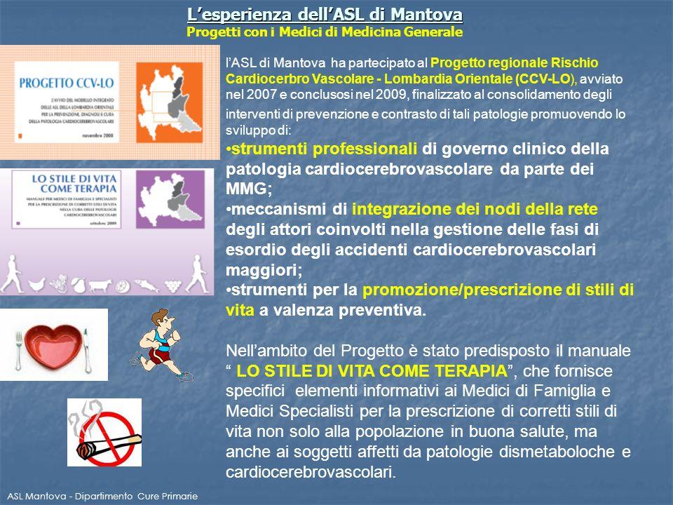 Lesperienza dellASL di Mantova Lesperienza dellASL di Mantova Progetti con i Medici di Medicina Generale ASL Mantova - Dipartimento Cure Primarie lASL