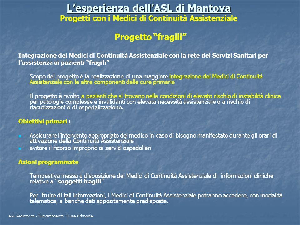 Lesperienza dellASL di Mantova Lesperienza dellASL di Mantova Progetti con i Medici di Continuità Assistenziale Progetto fragili Integrazione dei Medi